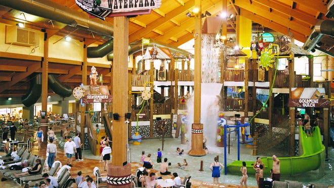 Wilderness Territory boasts four indoor water parks, including Wild West (top left), which spans 70,000 square feet that features bumper boats and a four-story interactive play feature.