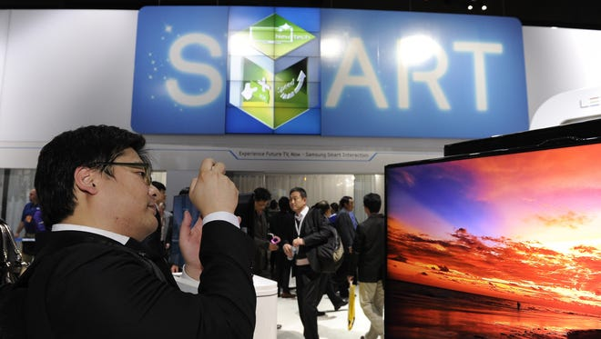 A display of 'smart' TVs at the 2012 Consumer Electronics Show in Las Vegas last January.