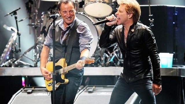 Bruce Springsteen, left, and Jon Bon Jovi perform during 12-12-12: The Concert for Sandy Relief at Madison Square Garden in New York on Dec. 12.