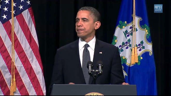 President Obama at a Sunday memorial for school shooting victims.