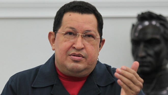 Venezuela's President Hugo Chavez speaks during a cabinet meeting Nov. 8.