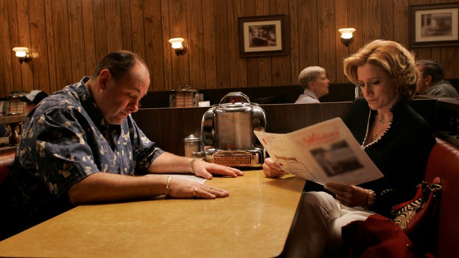 Tony (James Gandolfini) and Carmela (Edie Falco) in the final scene of HBO series 'The Sopranos.' Falco remembered her co-star after his death.