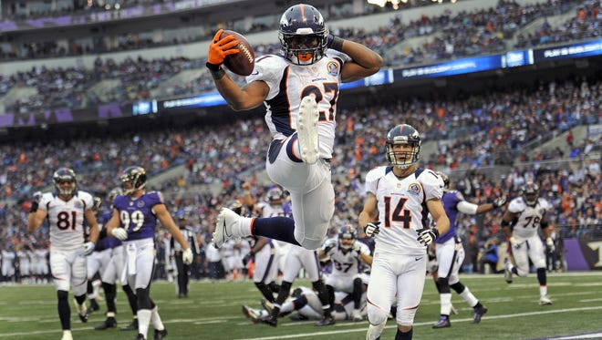 Running back Knowshon Moreno, scoring against the Ravens last weekend, is enjoying a late-season surge for the Broncos.