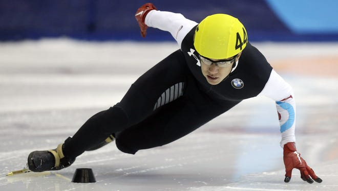 J.R. Celski of the United States competes during the 500-meters final at the U.S. Short Track Speed Skating Championships at the Utah Olympic Oval in Kearns, Utah. Celski finished first in the event.