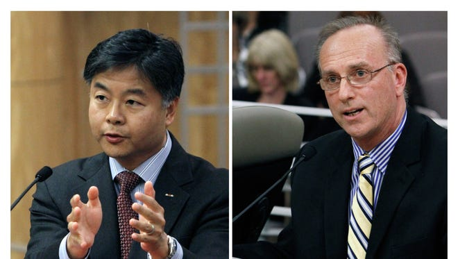 In this combo image, State Sen. Ted Lieu, D-Torrance, left, and David Pickup, a licensed marriage and family therapist, address lawmakers in favor and opposition, respectively, of a bill to ban a controversial form of psychotherapy aimed at making gay people straight during a hearing at the Capitol in Sacramento, Calif.