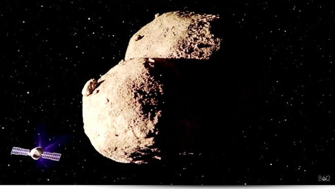 Rendering of a spacecraft attempting to adjust the orbit of an asteroid.