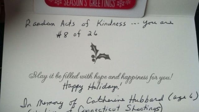 Kristen Albright of Cranbury, N.J., shared on Facebook a photo of a card she found in her shopping cart at Target.
