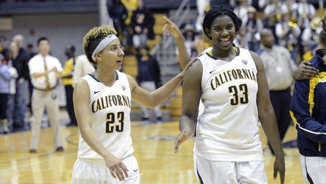 California guard Layshia Clarendon, left, and center Talia Caldwell celebrate their 88-79 win over Kansas.