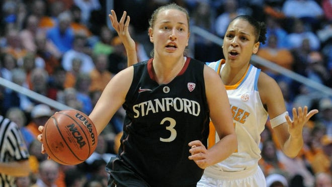 Stanford forward Mikaela Ruef (3) dribbles past Tennessee forward Cierra Burdick (11) during the second half at Thompson-Boling Arena. Stanford won 73 to 60.