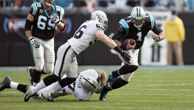 The Panthers have four of five largely due to the inspired play of QB Cam Newton (1).