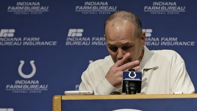 Indianapolis Colts head coach Chuck Pagano talks to the news media during an emotional news conference to mark his return to the team Monday.