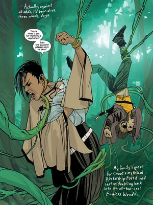 "Alana, Marko and baby fight to survive in Brian K. Vaughan and Fiona Staples' ""Saga."""