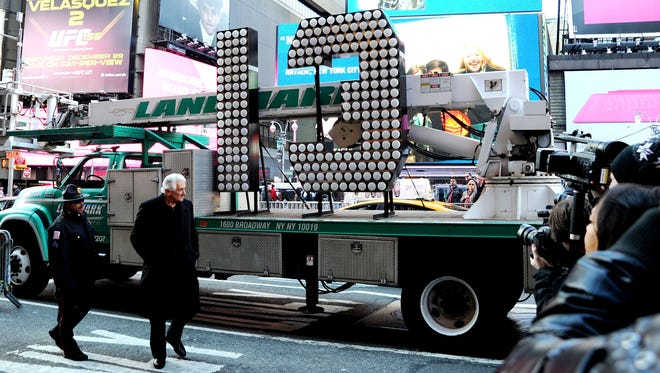 The number 13 arrives Dec. 19 at Times Square for the New Year's Eve countdown in New York.