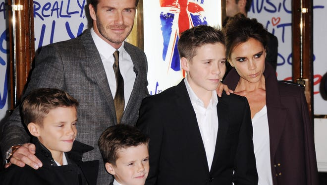 Romeo Beckham, David Beckham, Cruz Beckham, Brooklyn Beckham and Victoria Beckham attend the press night of 'Viva Forever', a musical based on the music of The Spice Girls at Piccadilly Theatre on Dec. 11 in London.