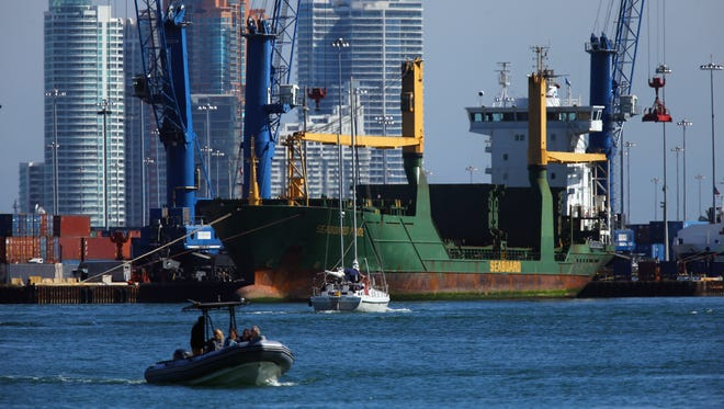 A container ship at the Port of Miami on Thursday.