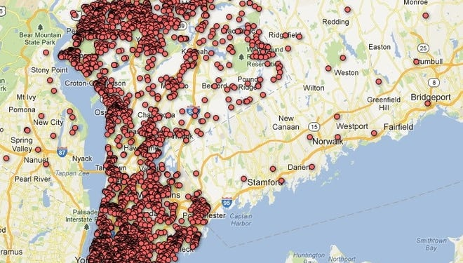 This map shows pistol permits registered with the Westchester County Clerk's Office. Residents are required to renew the permit every five years. Zoom in and out for more information and click on a dot to see details of a permit.    [Via MerlinFTP Drop]