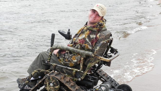 """Kurt Johnston, 28, of Osh Kosh, has gone turkey hunting in his chair in the fields and forests of Wisconsin. """"It's cool,"""" he says. """"We tell everyone it looks like a tank."""""""