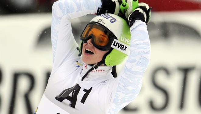 Austria's Anna Fenninger celebrates at the finish line of a  women's World Cup giant slalom in Semmering, Austria, on Friday.