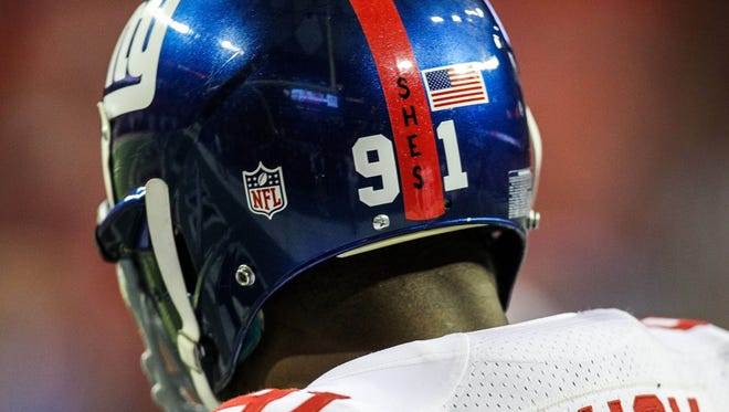 Giants defensive end Justin Tuck's helmet with a decal in memory of the Sandy Hook Elementary School tragedy in Newtown, Conn., days after it happened.