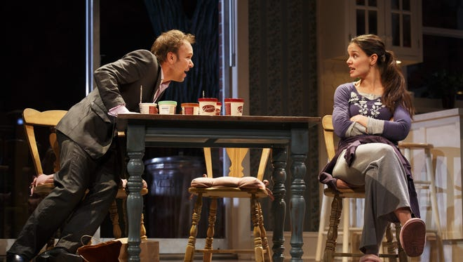 Norbert Leo Butz and Katie Holmes in a scene from 'Dead Accounts' at Broadway's Music Box Theatre in New York.