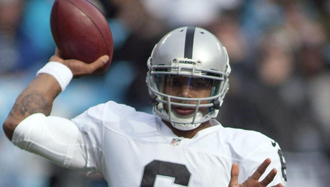 Oakland Raiders quarterback Terrelle Pryor (6) throws a pass during the first quarter against the Carolina Panthers at Bank of America Stadium last Sunday.