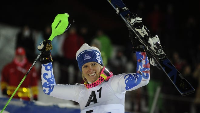 Slovakia's Veronika Velez Zuzulova celebrates her victory in finish area after the women's night slalom during the Alpine skiing World cup in Semmering, Austria, on Saturday.