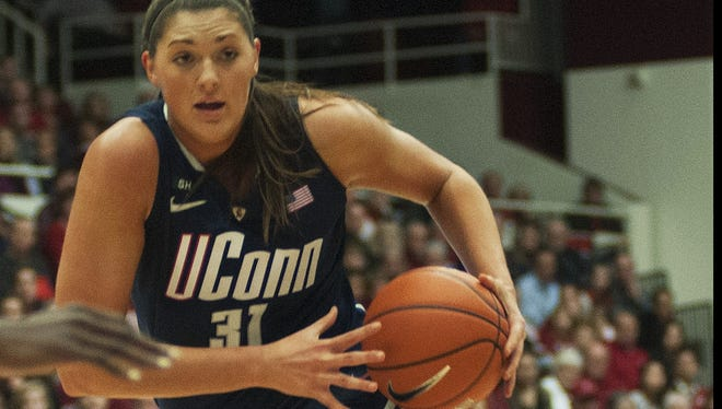 Connecticut center Stefanie Dolson contributed 10 points and 14 rebounds to the Huskies' surprisingly lopsided win at No. 1 Stanford.