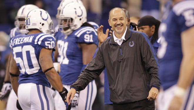 Back on the sideline for the first time since September, Colts coach Chuck Pagano and his team notched a win Sunday.