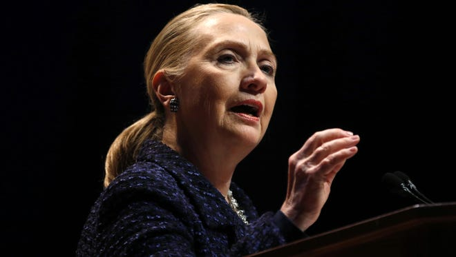 Secretary of State Hillary Rodham Clinton gestures as she gives a speech Dec. 6 in Dublin, Ireland.
