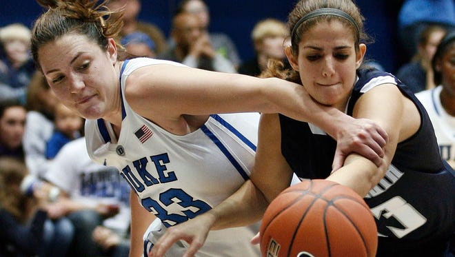 Duke Blue Devils guard/forward Haley Peters and Monmouth Hawks forward Shira Shecht  scramble for the ball during the second half at Cameron Indoor Stadium.