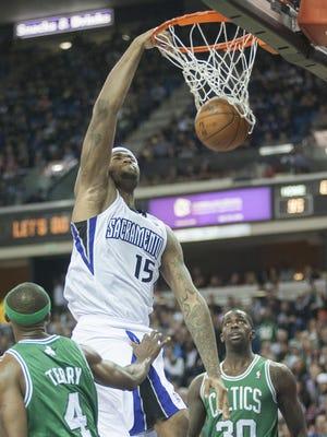 Sacramento Kings center DeMarcus Cousins (15) dunks the ball during the fourth quarter against the Boston Celtics at Sleep Train Arena.
