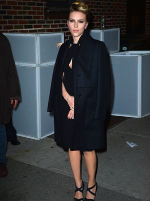 Scarlett Johansson arrives to 'Late Show with David Letterman' on Nov. 20.