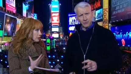 Kathy Griffin and Anderson Cooper ring in 2013 on CNN from Times Square.