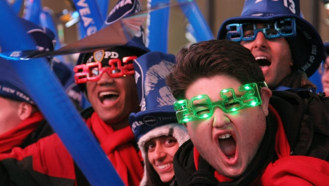 Revelers celebrate in Times Square on New Year's Eve.