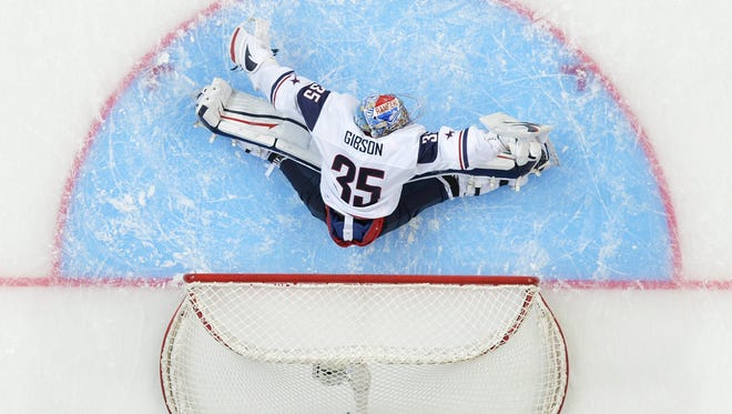 Team USA goalie John Gibson has stopped 103 of 110 shots in the tournament.