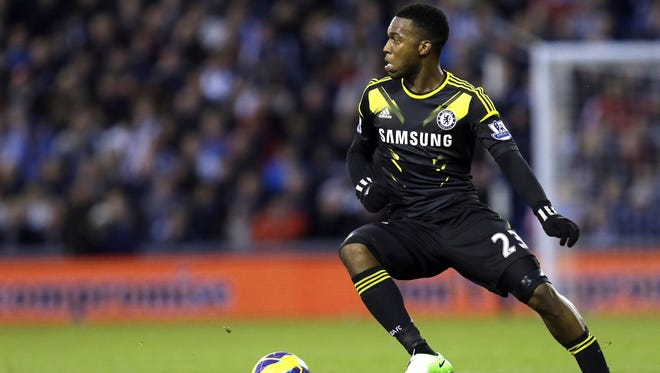 Chelsea's Daniel Sturridge is seen in action playing against West Bromwich Albion during their English Premier League soccer match at WBA's Hawthorns stadium in Birmingham, England,  on Nov.  17, 2012.