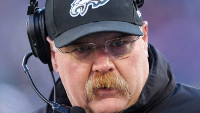 Philadelphia Eagles head coach Andy Reid, shown during the first half of an NFL football game against the New York Giants Sunday, Dec. 30, 2012 in East Rutherford, N.J. , will interview for the Kansas City Chiefs job oN Wednesday.
