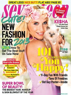 Ke$ha covers the February issue of 'Seventeen.'