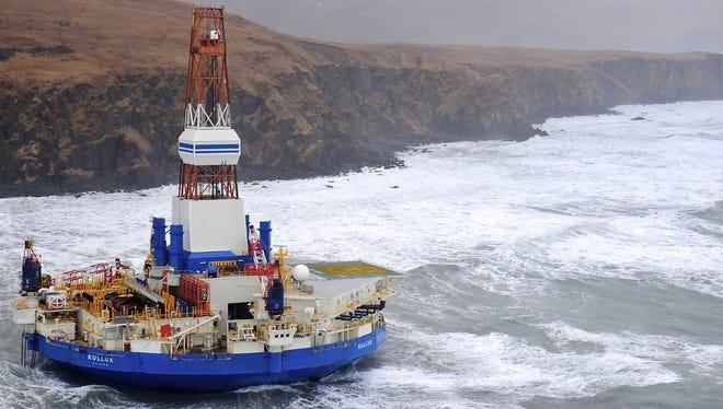 The Royal Dutch Shell drilling rig Kulluk ran aground off a small Alaskan island during a storm.