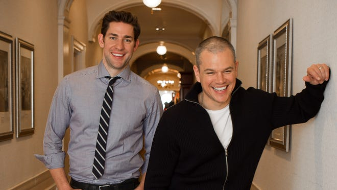 """Matt Damon and John Krasinski promote the film """"Promised Land""""  which they both star in and co-wrote, in New York on Nov. 27, 2012. --   Photo by Todd Plitt, USA TODAY contract photographer"""
