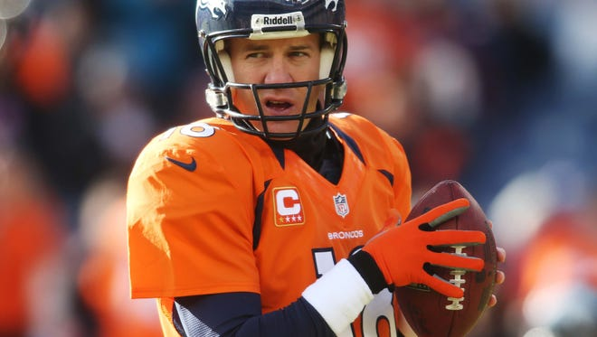 Denver Broncos quarterback Peyton Manning before the game against the Kansas City Chiefs at Sports Authority Field at Mile High.