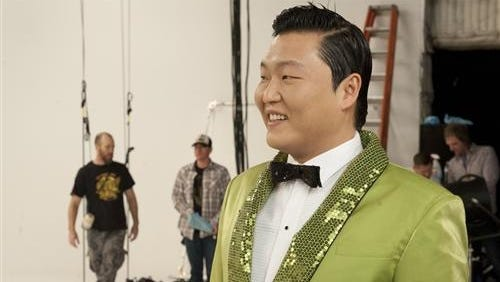 "Psy on the set of the Wonderful Pistachios ""Get Crackin'"" Super Bowl commercial shoot."