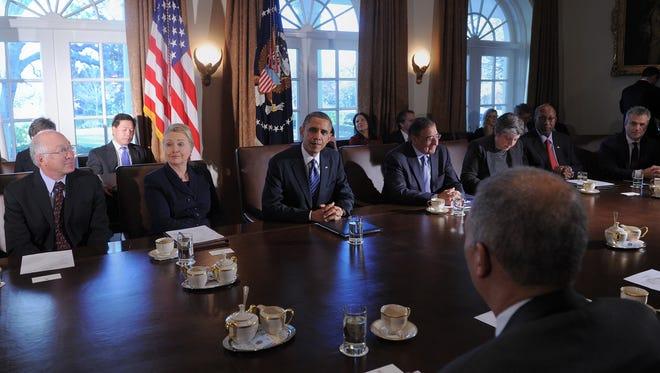 President Obama speaks during a Cabinet meeting on Nov. 28.