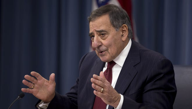 Defense Secretary Leon Panetta gestures during a news conference at the Pentagon, on Thursday.