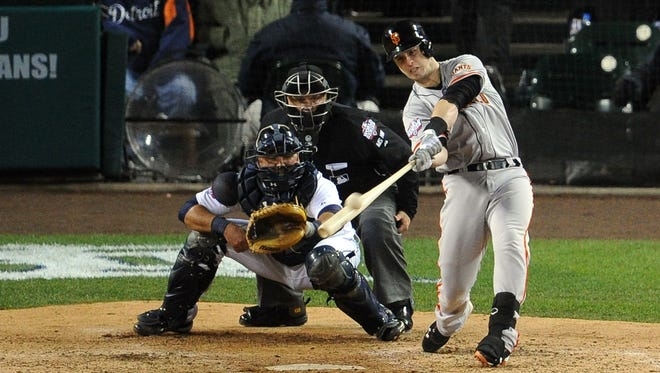 Catcher Buster Posey won the NL MVP award in 2012 and helped lead the Giants to a World Series title by hitting this two-run home run in Game 4.