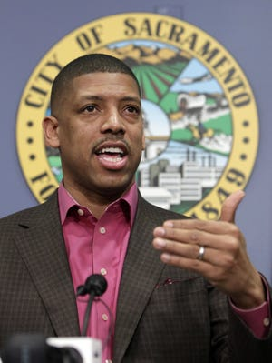 Sacramento Mayor Kevin Johnson speaks during a news conference Wednesday about the future of the Kings.