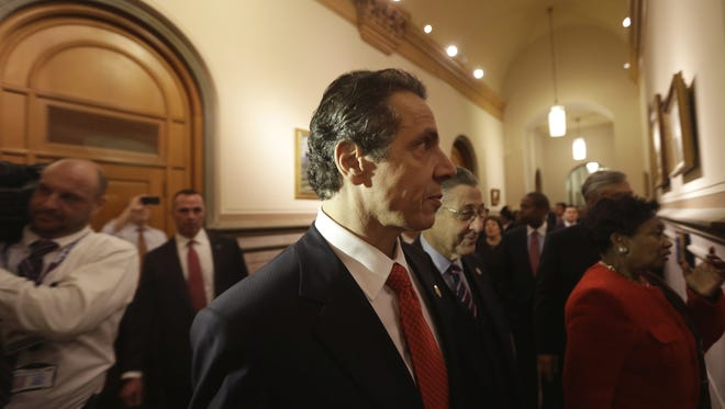 New York Gov. Cuomo leads a tour of the state Capitol in Albany on  Jan. 9.