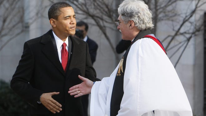 President Obama has selected Rev. Luis Leon (shown here in 2009), the pastor of Saint John's Episcopal Church,  to give the benediction at the inauguration.