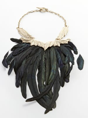 This $325 RAVEN by Raven Kauffman Couture feathered collar is part of HSN's 'Oz' collection.