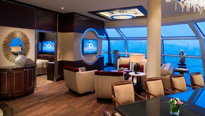 The Celebrity Reflection's 1,636-square-foot Reflection Suite features a large lounge and dining area.